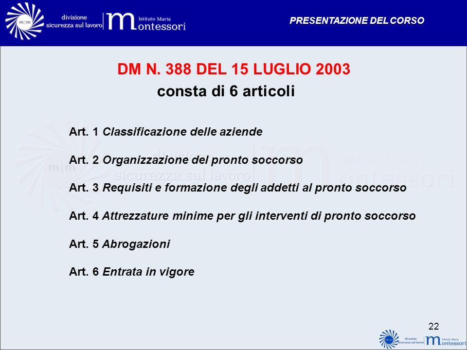 DM N. 388 DEL 15 LUGLIO 2003 consta di 6 articoli