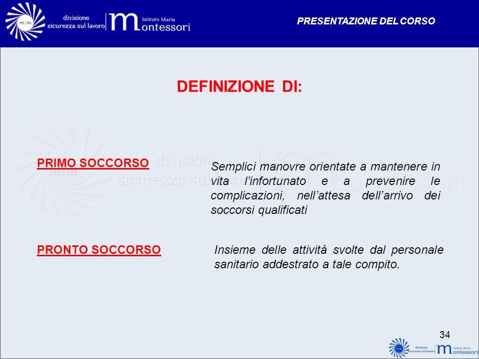 DEFINIZIONE DI: PRIMO SOCCORSO