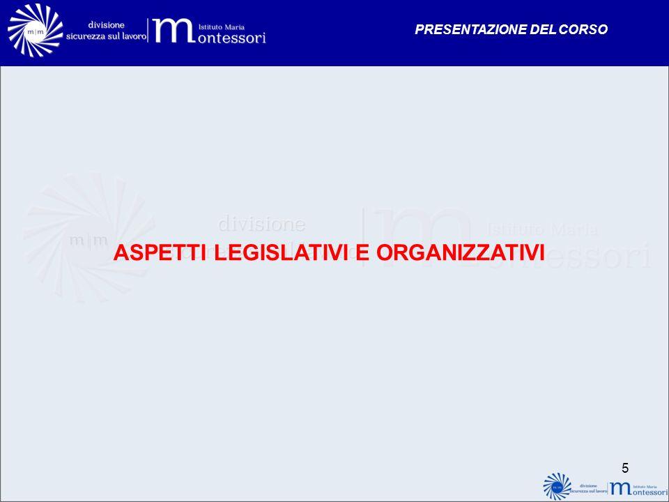 ASPETTI LEGISLATIVI E ORGANIZZATIVI