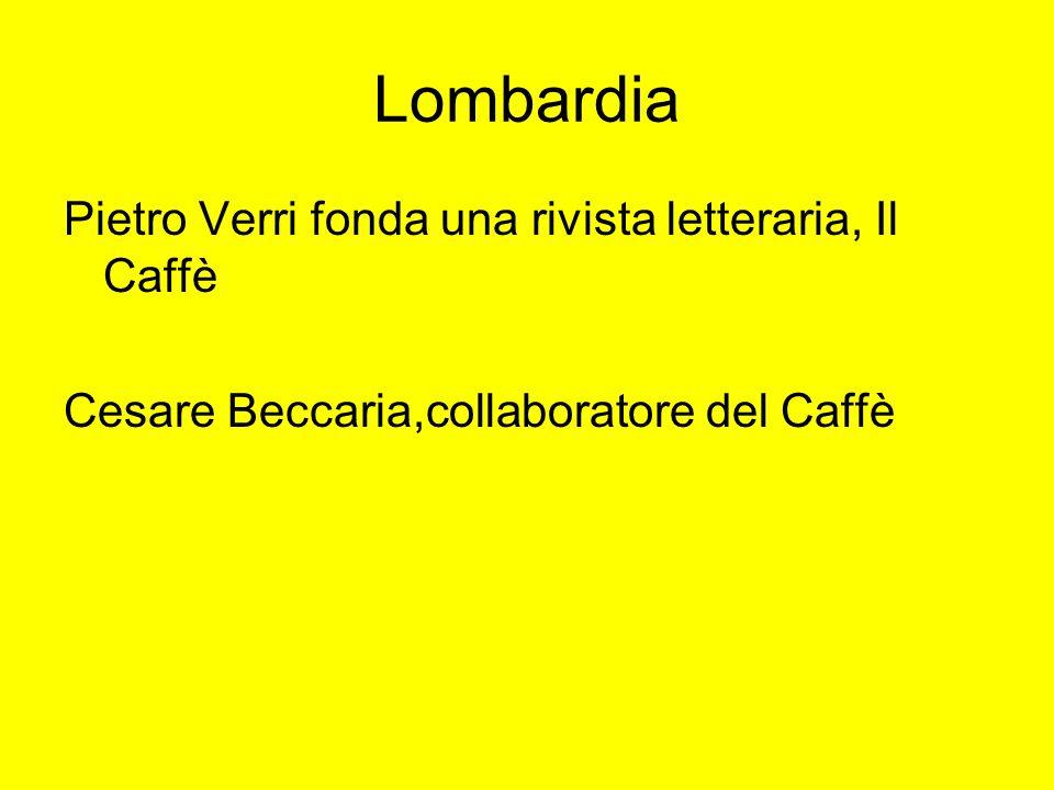 Lombardia Pietro Verri fonda una rivista letteraria, Il Caffè