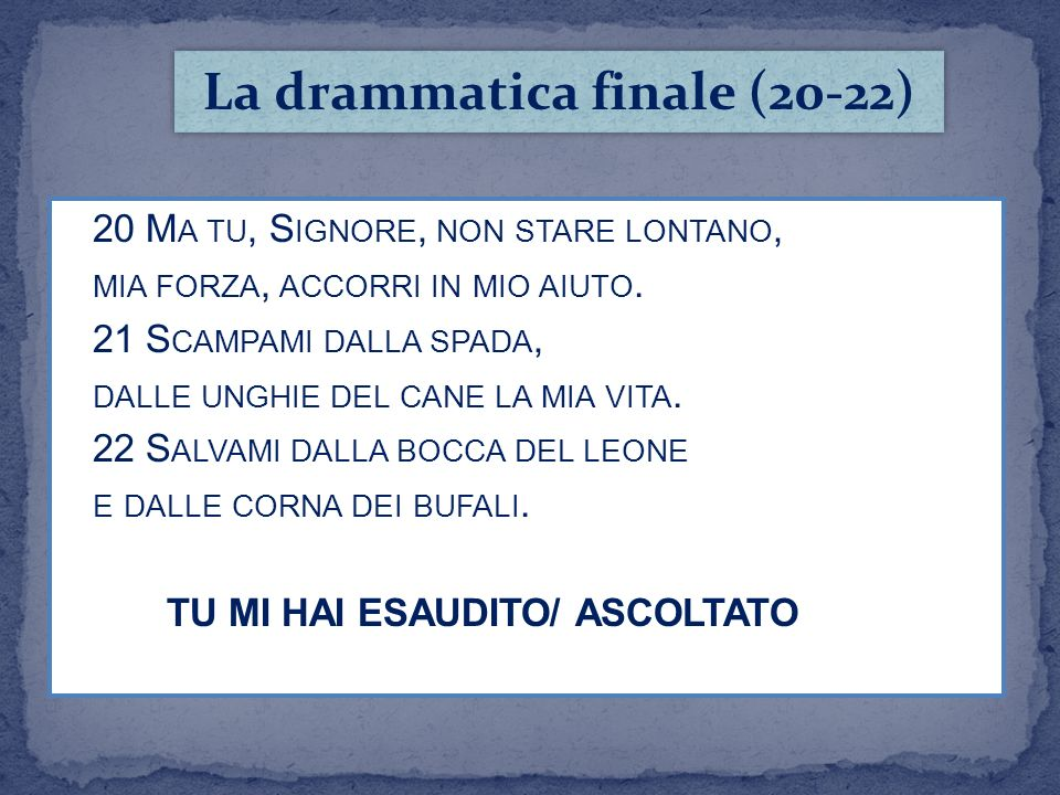 La drammatica finale (20-22)