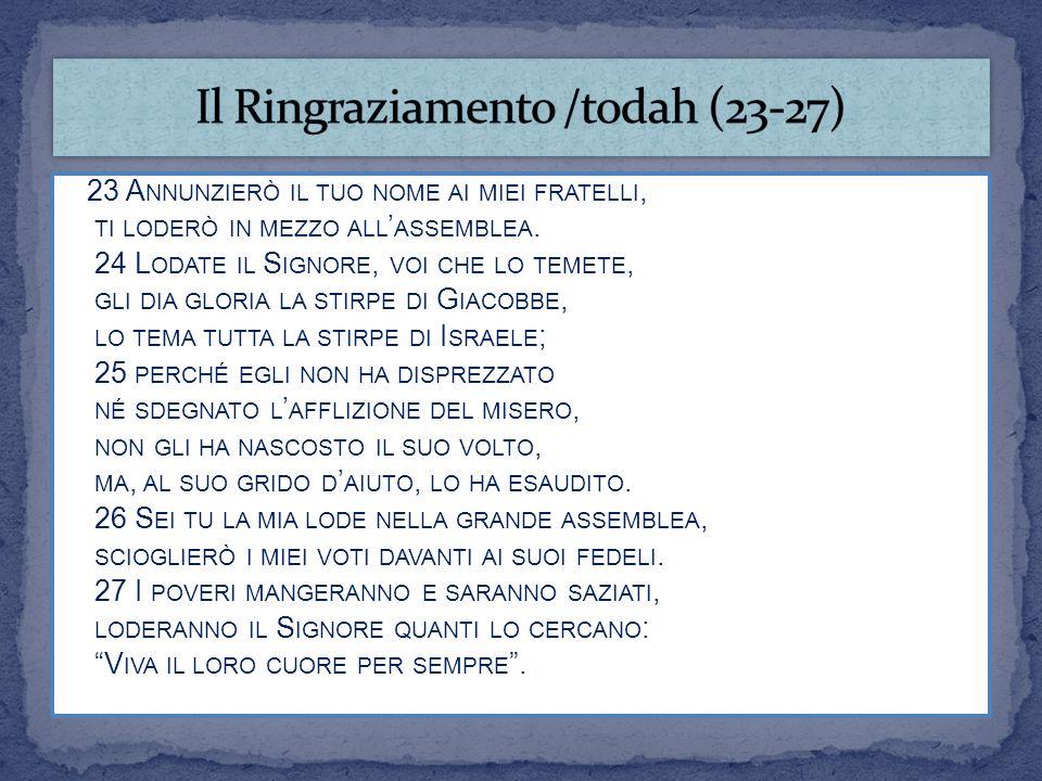 Il Ringraziamento /todah (23-27)