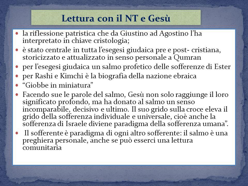 Lettura con il NT e Gesù la riflessione patristica che da Giustino ad Agostino l'ha interpretato in chiave cristologia;