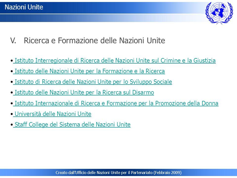 V. Ricerca e Formazione delle Nazioni Unite