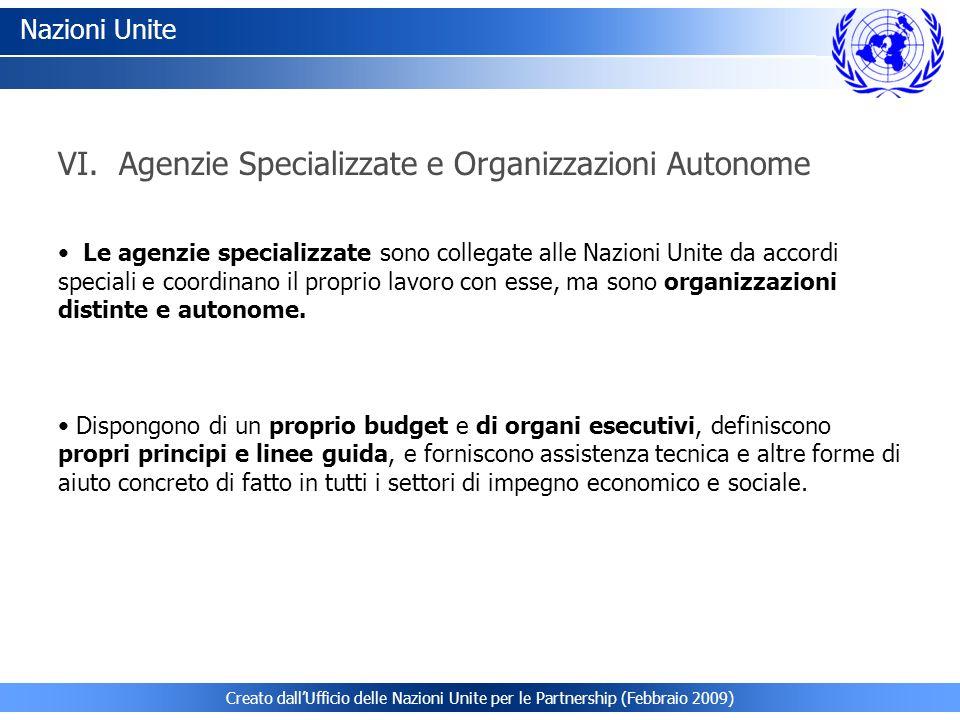 VI. Agenzie Specializzate e Organizzazioni Autonome