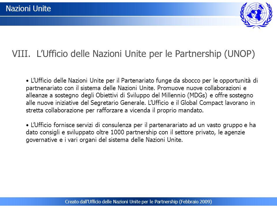 VIII. L'Ufficio delle Nazioni Unite per le Partnership (UNOP)