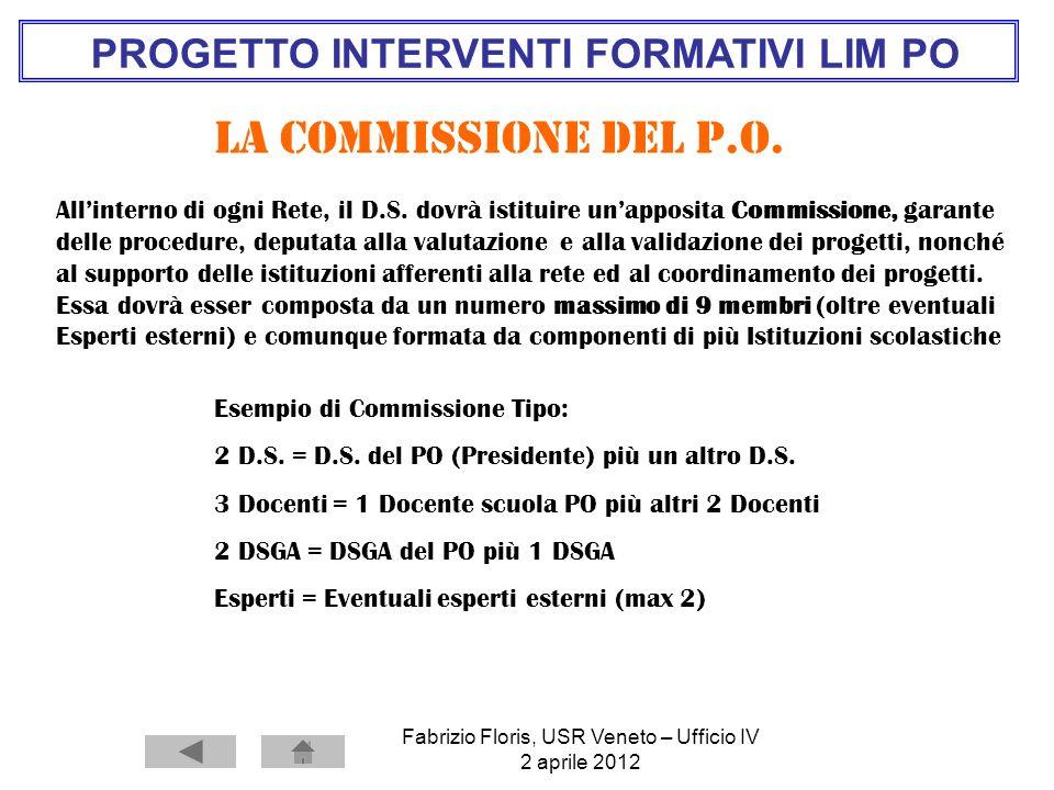 PROGETTO INTERVENTI FORMATIVI LIM PO