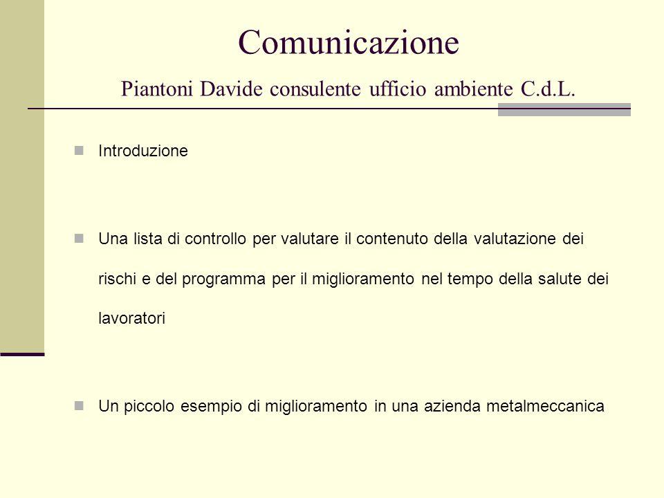 Comunicazione Piantoni Davide consulente ufficio ambiente C.d.L.