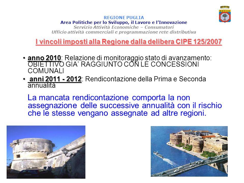 I vincoli imposti alla Regione dalla delibera CIPE 125/2007
