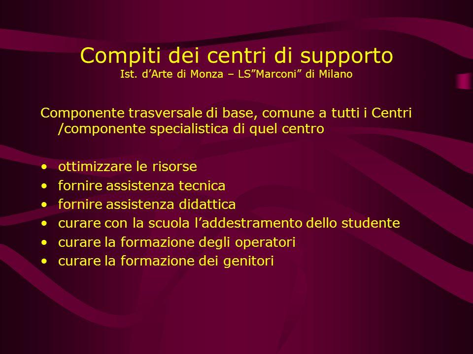 Compiti dei centri di supporto Ist