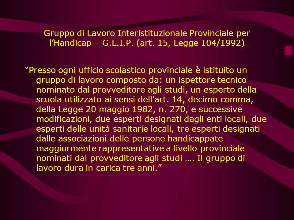 Gruppo di Lavoro Interistituzionale Provinciale per l'Handicap – G. L