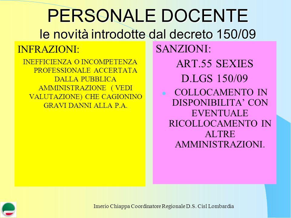 PERSONALE DOCENTE le novità introdotte dal decreto 150/09
