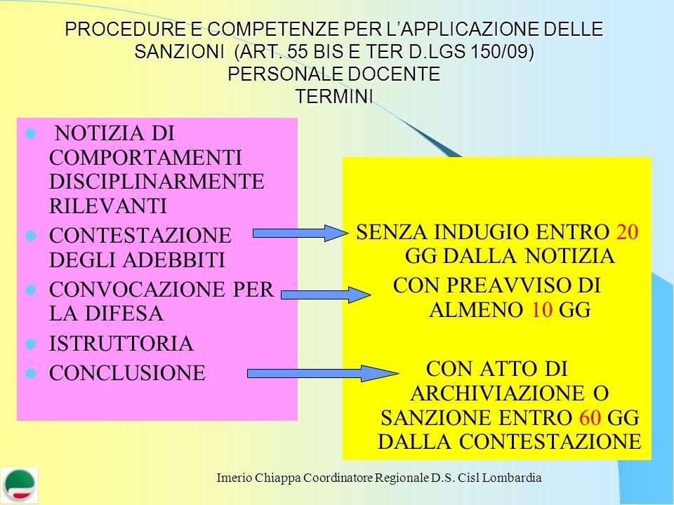 PROCEDURE E COMPETENZE PER L'APPLICAZIONE DELLE SANZIONI (ART
