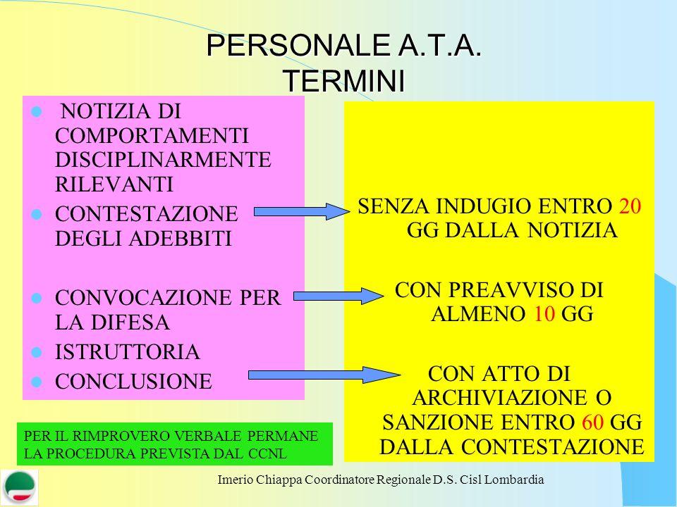 PERSONALE A.T.A. TERMINI NOTIZIA DI COMPORTAMENTI DISCIPLINARMENTE RILEVANTI. CONTESTAZIONE DEGLI ADEBBITI.