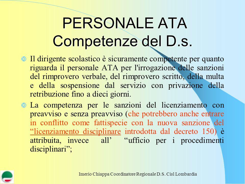 PERSONALE ATA Competenze del D.s.