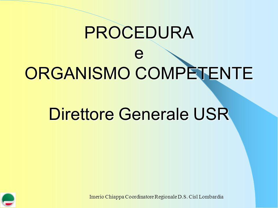 PROCEDURA e ORGANISMO COMPETENTE Direttore Generale USR
