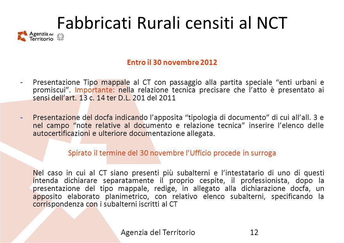 Fabbricati Rurali censiti al NCT