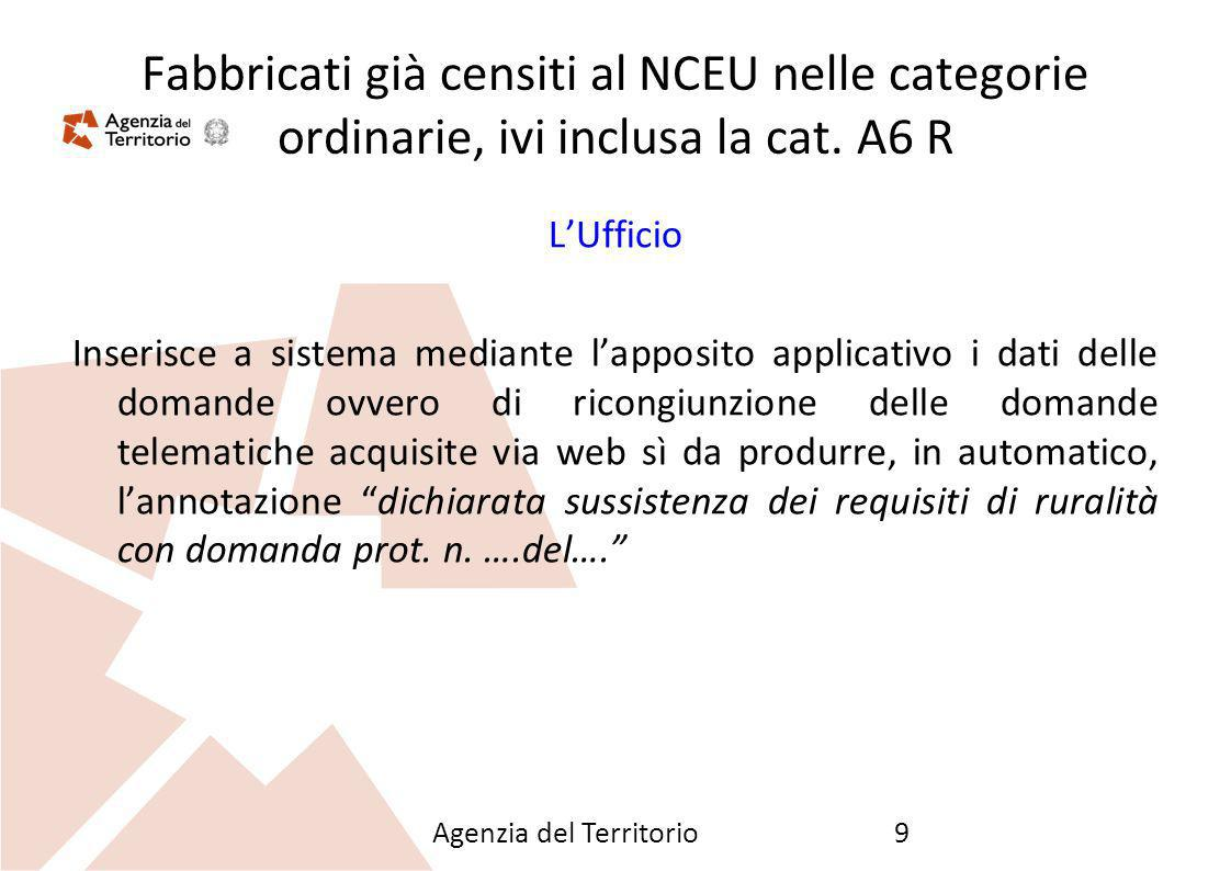 26/09/12 Fabbricati già censiti al NCEU nelle categorie ordinarie, ivi inclusa la cat. A6 R. L'Ufficio.