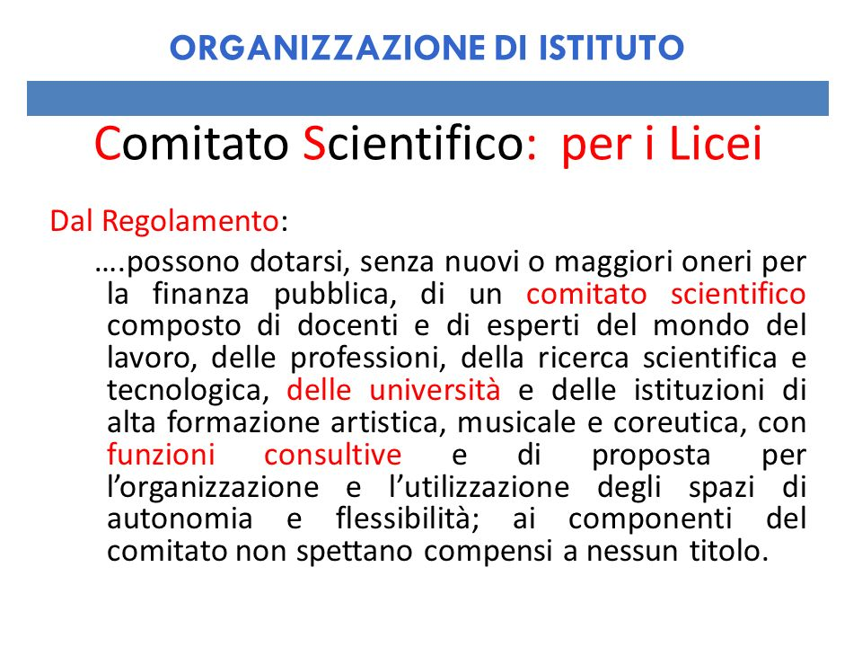 Comitato Scientifico: per i Licei