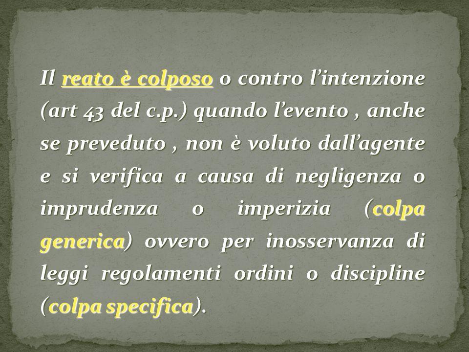 Il reato è colposo o contro l'intenzione (art 43 del c. p