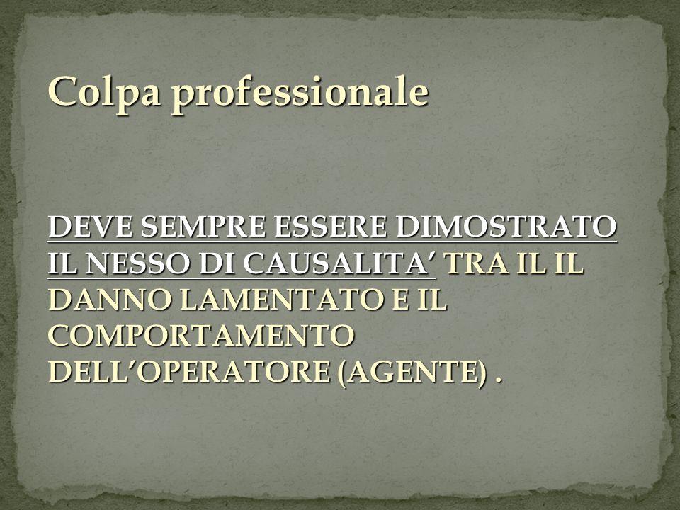 Colpa professionale DEVE SEMPRE ESSERE DIMOSTRATO IL NESSO DI CAUSALITA' TRA IL IL DANNO LAMENTATO E IL COMPORTAMENTO DELL'OPERATORE (AGENTE) .