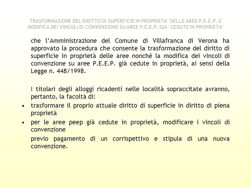 TRASFORMAZIONE DEL DIRITTO DI SUPERFICIE IN PROPRIETA' DELLE AREE P. E
