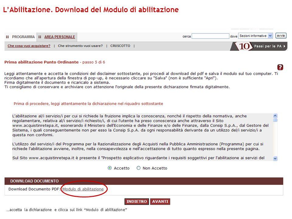 L'Abilitazione. Download del Modulo di abilitazione