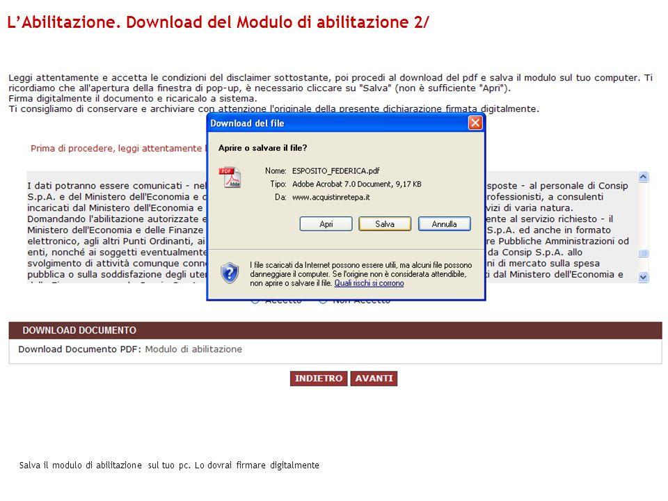 L'Abilitazione. Download del Modulo di abilitazione 2/