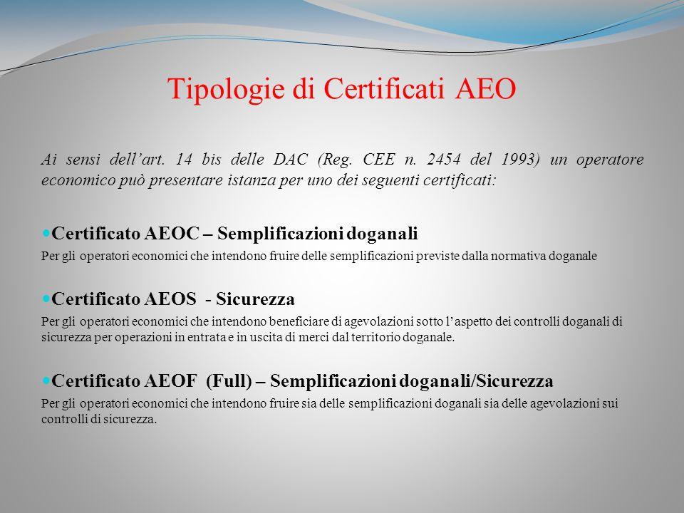 Tipologie di Certificati AEO