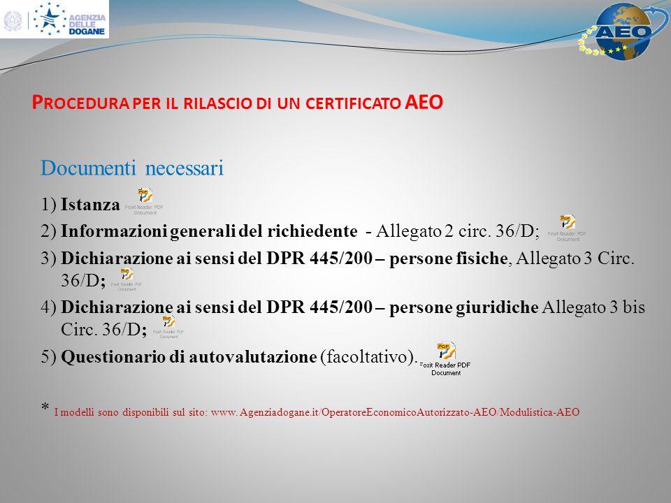 Procedura per il rilascio di un certificato AEO