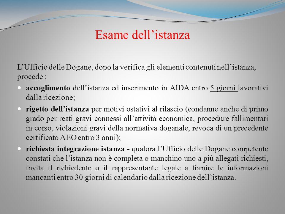 Esame dell'istanza L'Ufficio delle Dogane, dopo la verifica gli elementi contenuti nell'istanza, procede :