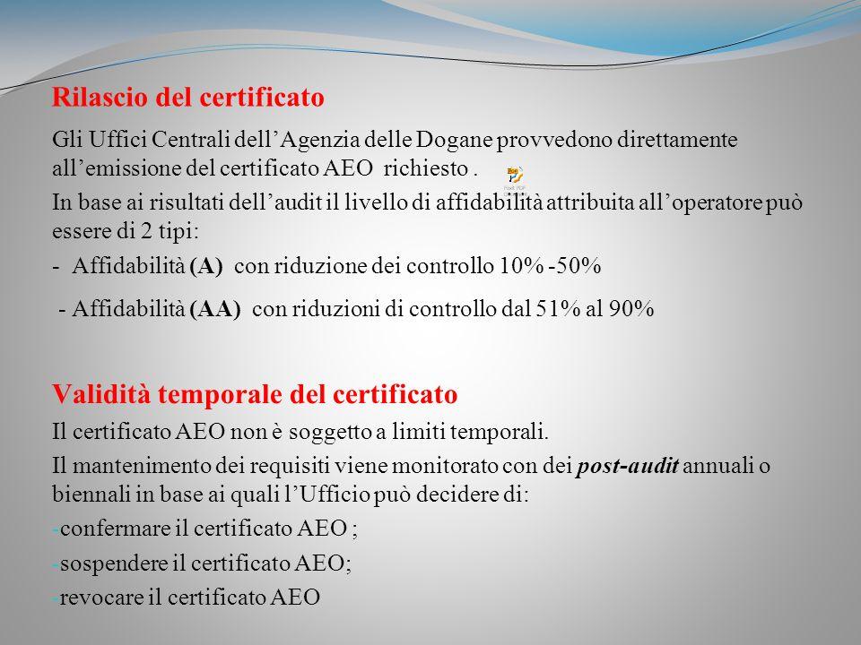 Rilascio del certificato