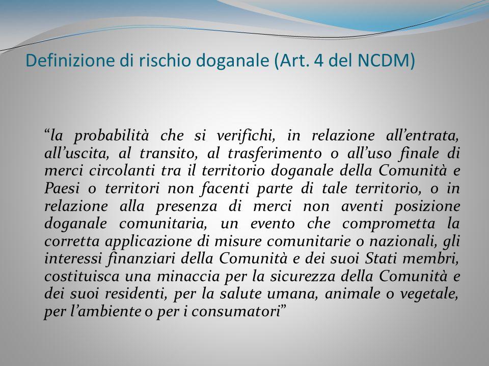Definizione di rischio doganale (Art. 4 del NCDM)