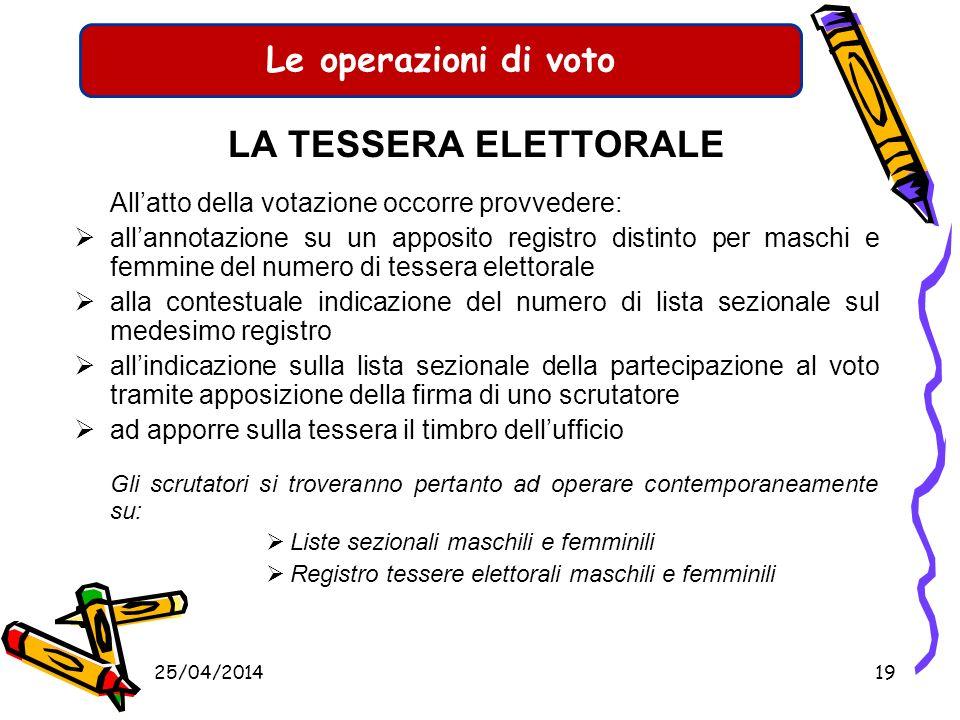 LA TESSERA ELETTORALE All'atto della votazione occorre provvedere: