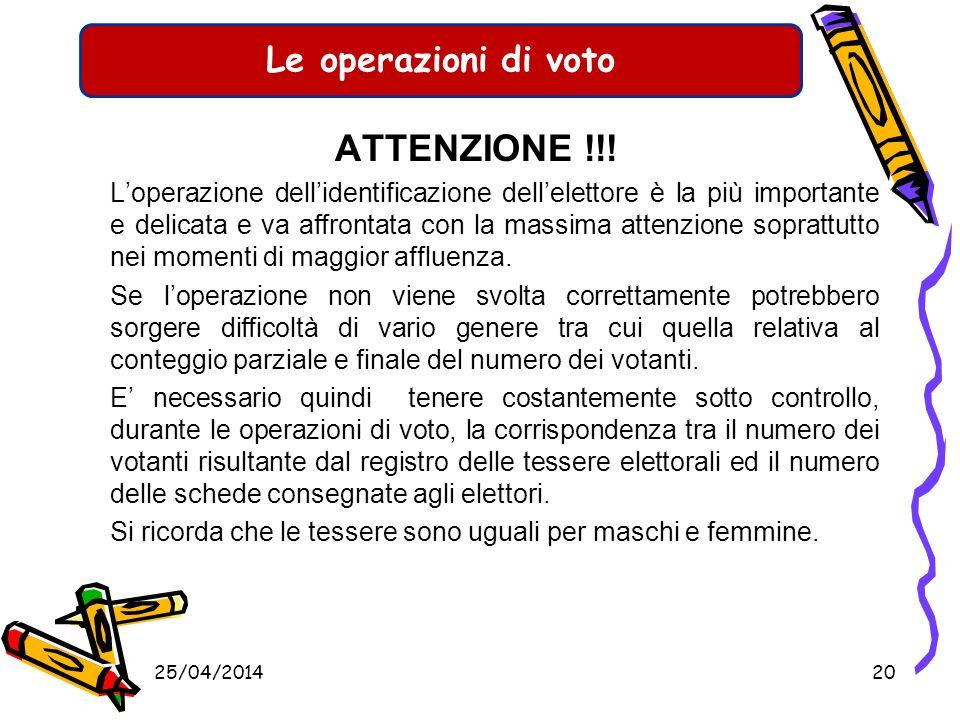 Le operazioni di voto ATTENZIONE !!!