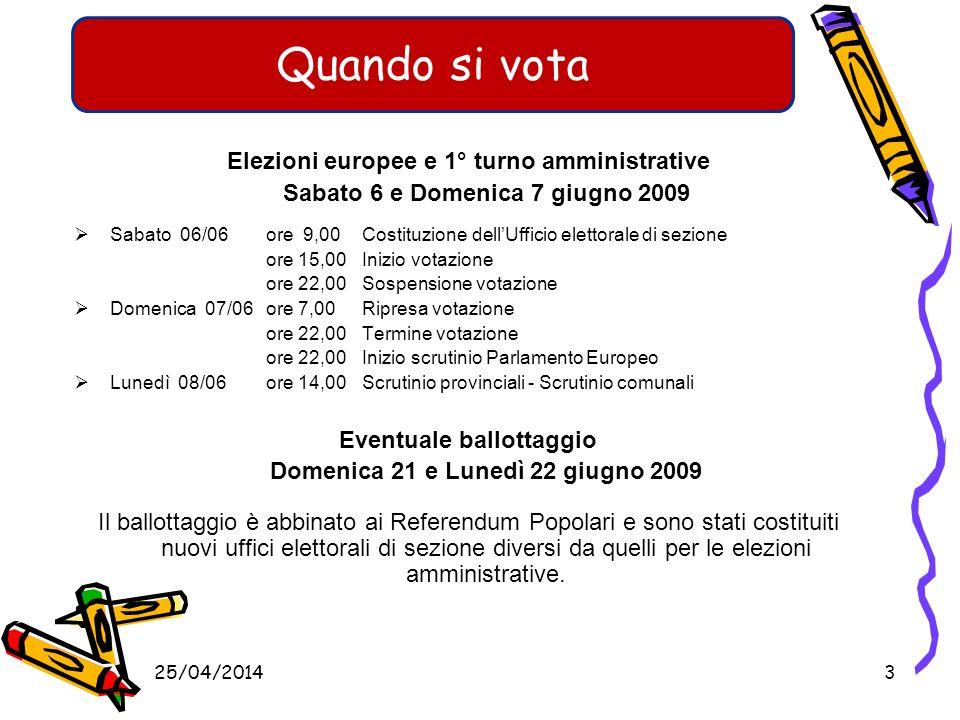 Elezioni europee e 1° turno amministrative