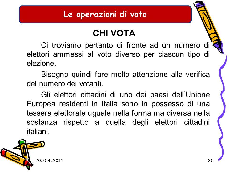 Le operazioni di voto CHI VOTA. Ci troviamo pertanto di fronte ad un numero di elettori ammessi al voto diverso per ciascun tipo di elezione.