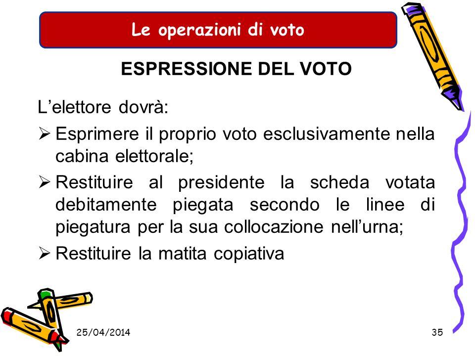 Esprimere il proprio voto esclusivamente nella cabina elettorale;
