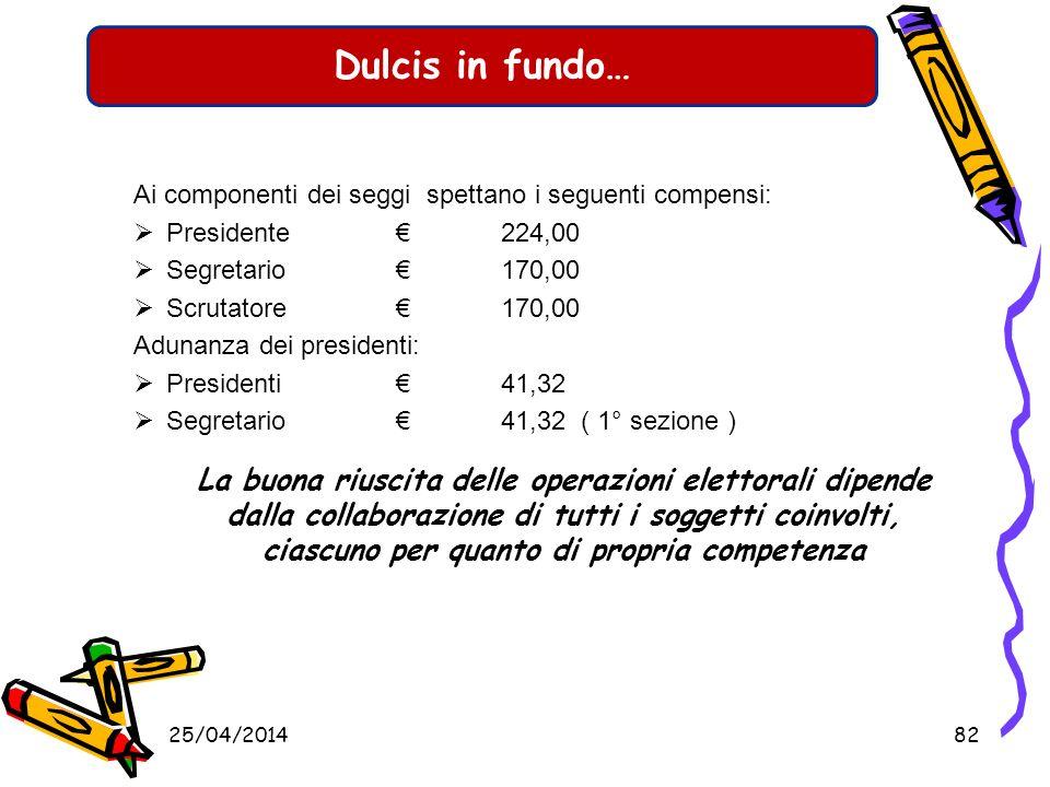 Dulcis in fundo… Ai componenti dei seggi spettano i seguenti compensi: Presidente € 224,00. Segretario € 170,00.