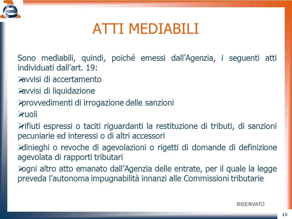ATTI MEDIABILI Sono mediabili, quindi, poiché emessi dall'Agenzia, i seguenti atti individuati dall'art. 19: