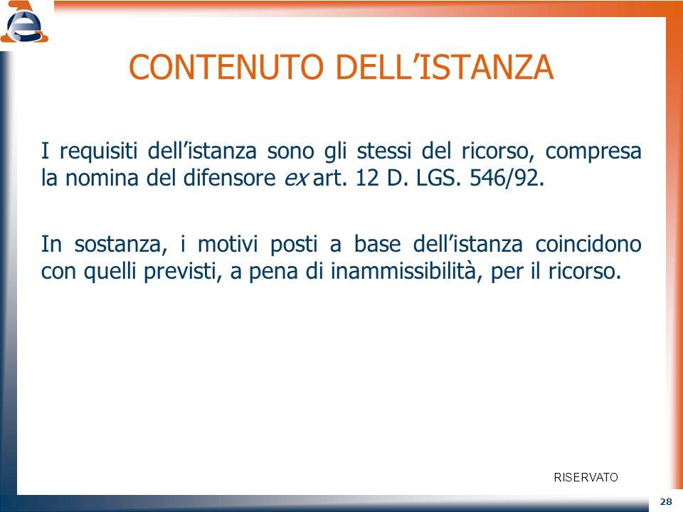 CONTENUTO DELL'ISTANZA