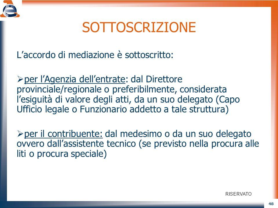 SOTTOSCRIZIONE L'accordo di mediazione è sottoscritto: