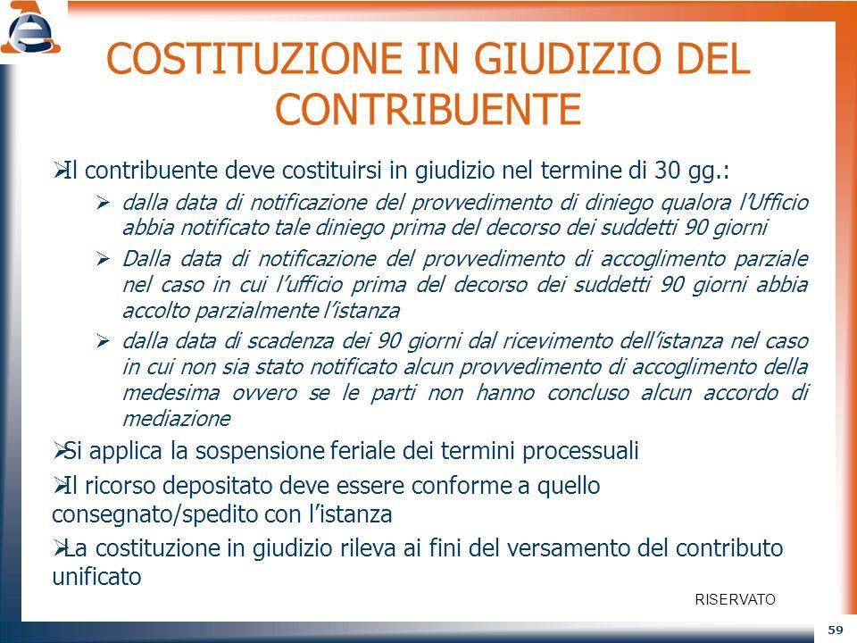 COSTITUZIONE IN GIUDIZIO DEL CONTRIBUENTE