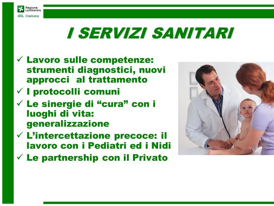 I SERVIZI SANITARI Lavoro sulle competenze: strumenti diagnostici, nuovi approcci al trattamento. I protocolli comuni.