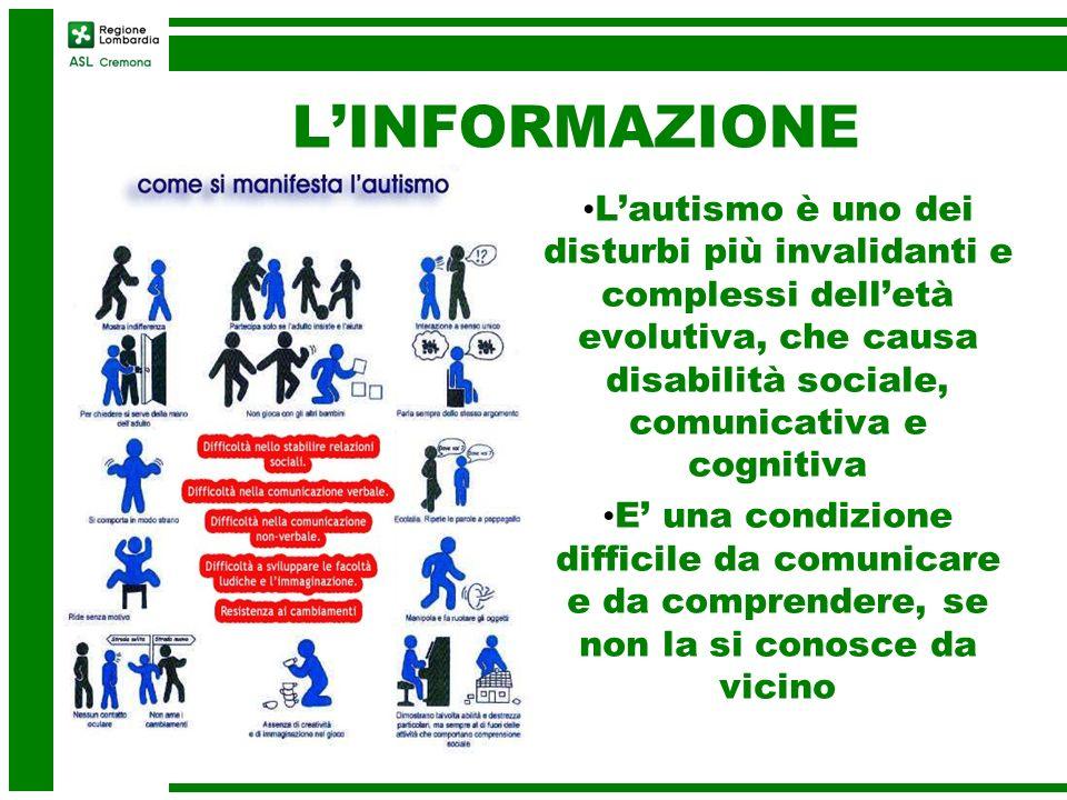 L'INFORMAZIONE L'autismo è uno dei disturbi più invalidanti e complessi dell'età evolutiva, che causa disabilità sociale, comunicativa e cognitiva.
