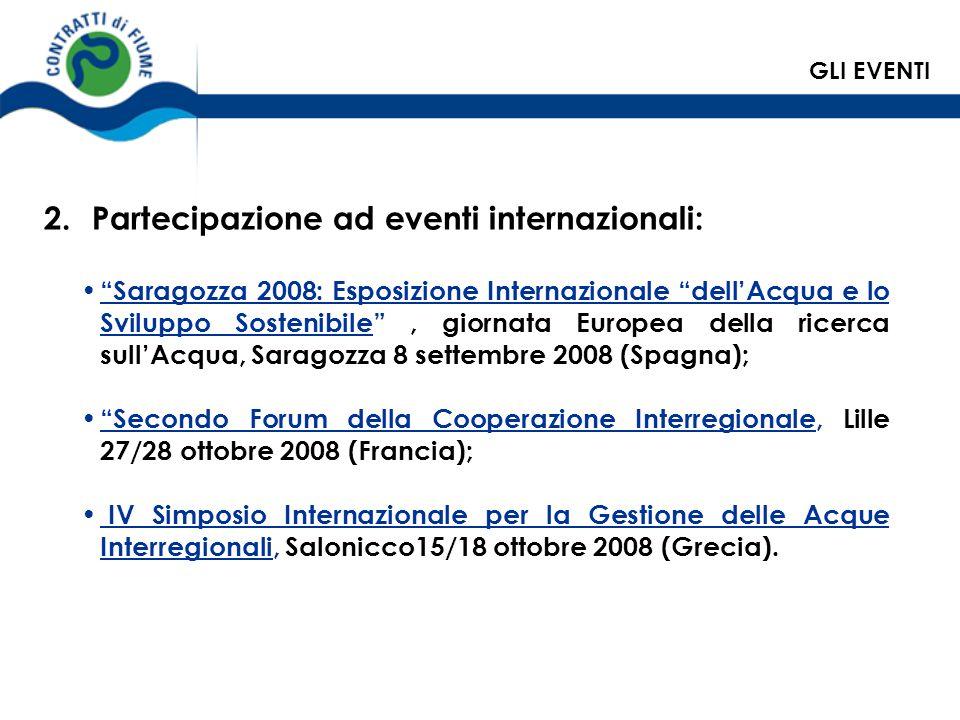 Partecipazione ad eventi internazionali: