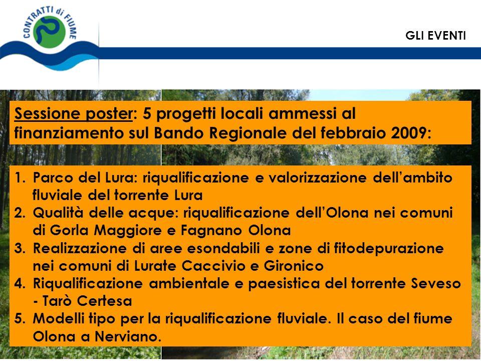 GLI EVENTI Sessione poster: 5 progetti locali ammessi al finanziamento sul Bando Regionale del febbraio 2009: