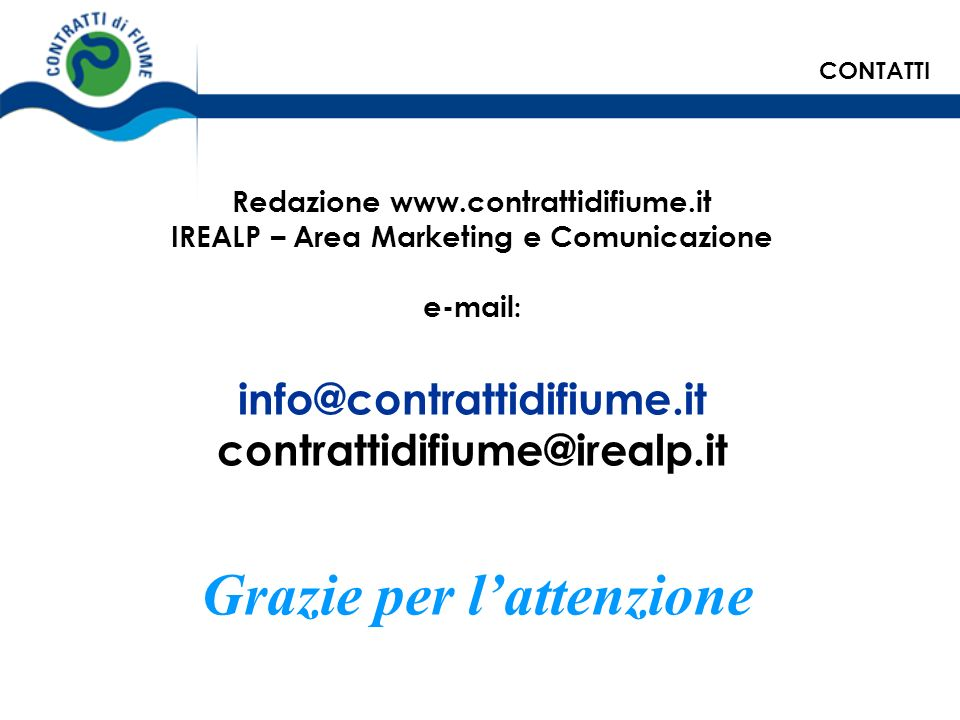 info@contrattidifiume.it contrattidifiume@irealp.it