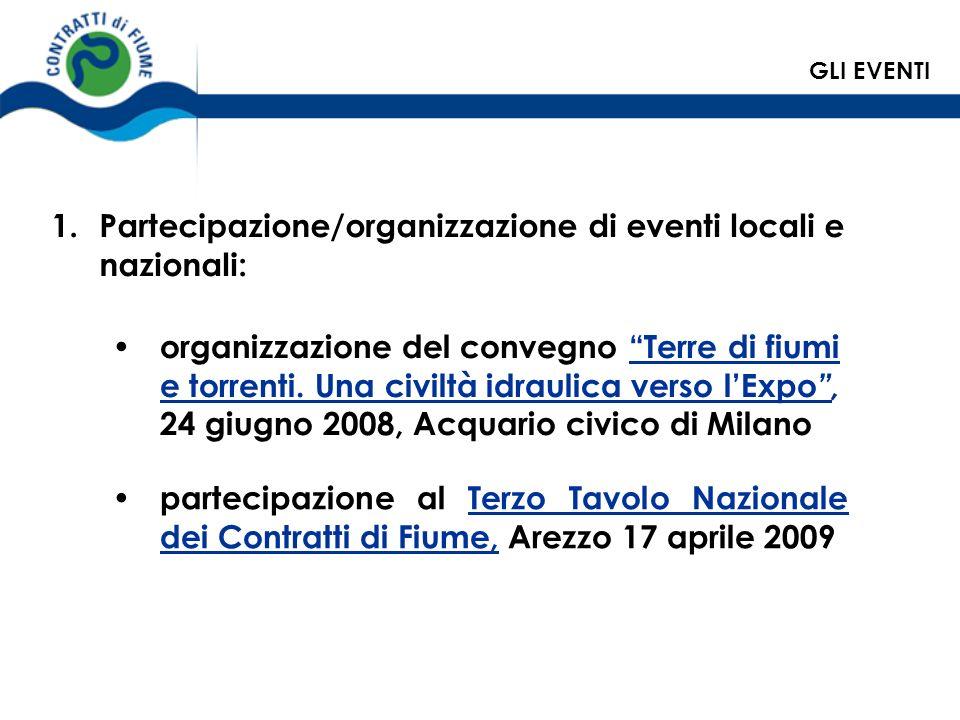 Partecipazione/organizzazione di eventi locali e nazionali: