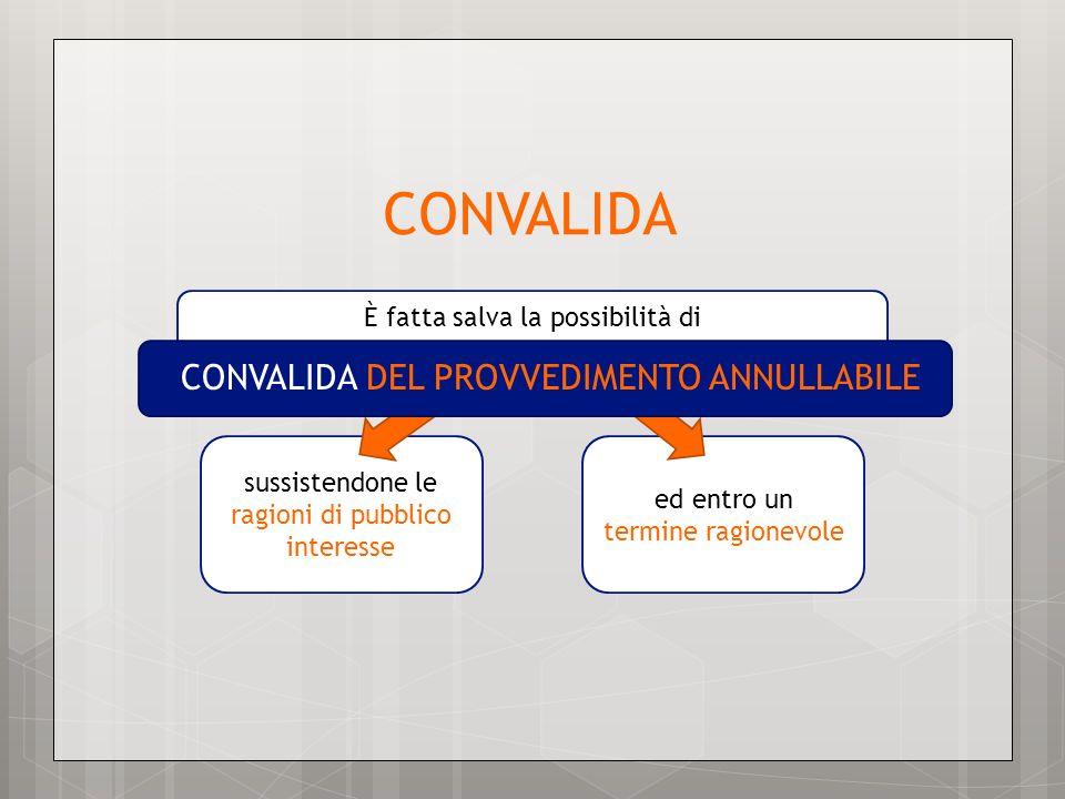 CONVALIDA CONVALIDA DEL PROVVEDIMENTO ANNULLABILE